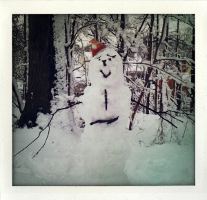 a very happy snowman